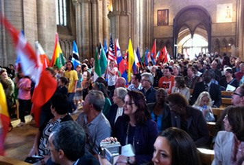 Flags of many nations: Roman Catholic Pentecost celebration at Peterborough's Anglican Cathedral (Ben Rogaly, 2011)